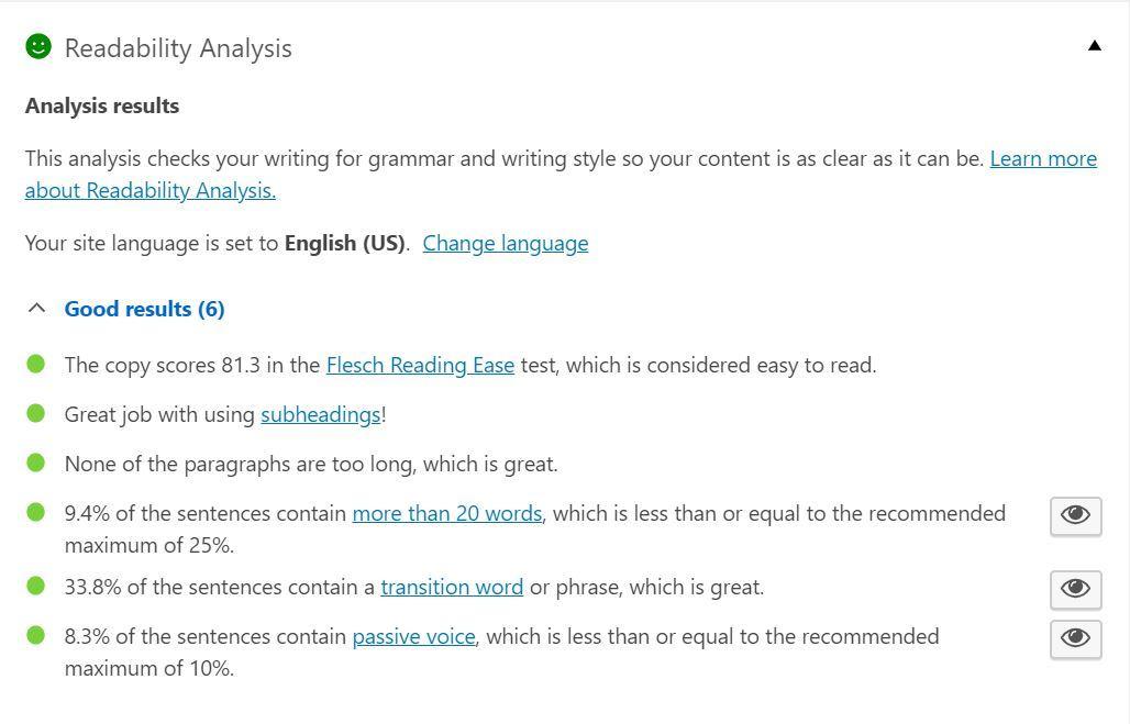 A screenshot of Yoast SEO plugin readability analysis