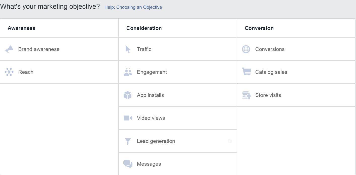A screenshot of the Facebook Ads Objectives