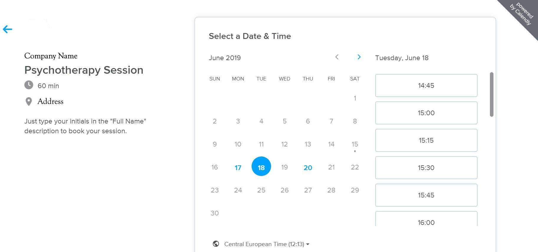 A screeshot of the Calendly client side booking page