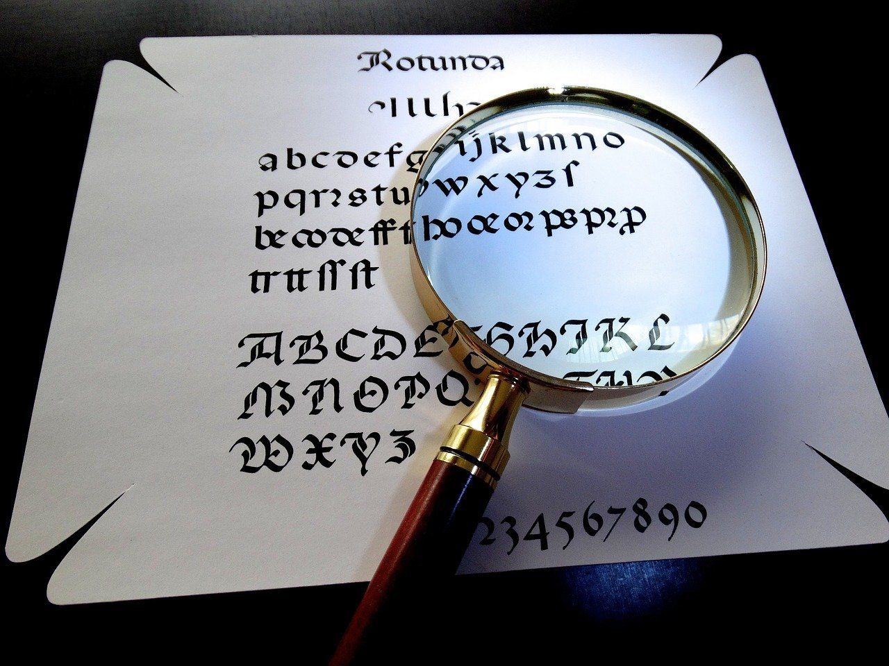 A magnifying glass on a piece of paper