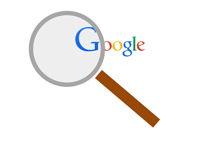 A magnifying glass and google's logo